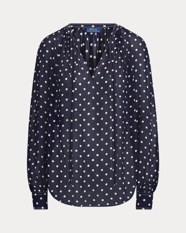 Camisa de georgette con lazo al cuello