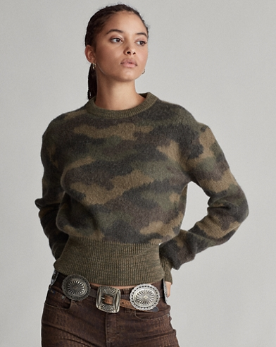 Maglia in lana con stampa camouflage