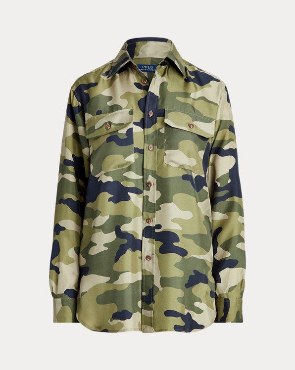 Chemise en soie camouflage