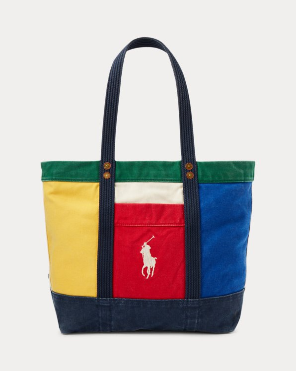 Canvas Colour-Blocked Tote