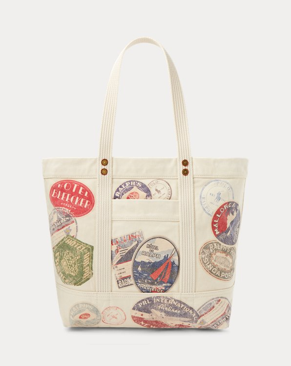 Travel-Print Canvas Large Tote