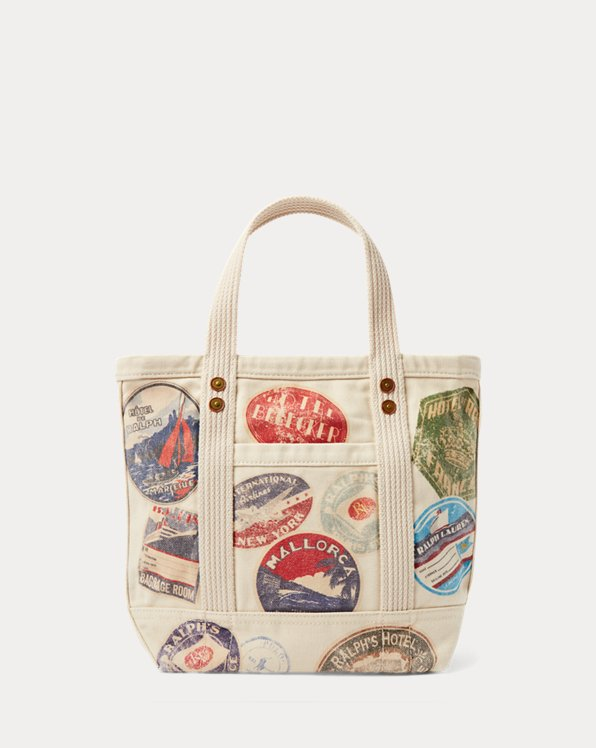 Travel-Print Canvas Small Tote