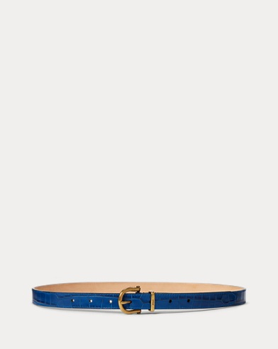 Crocodile-Stamped Leather Belt