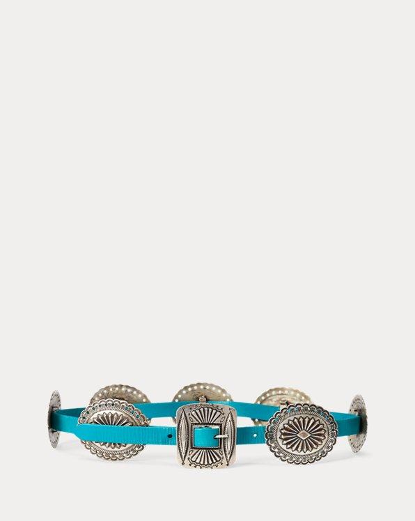 Cinturón concho de piel