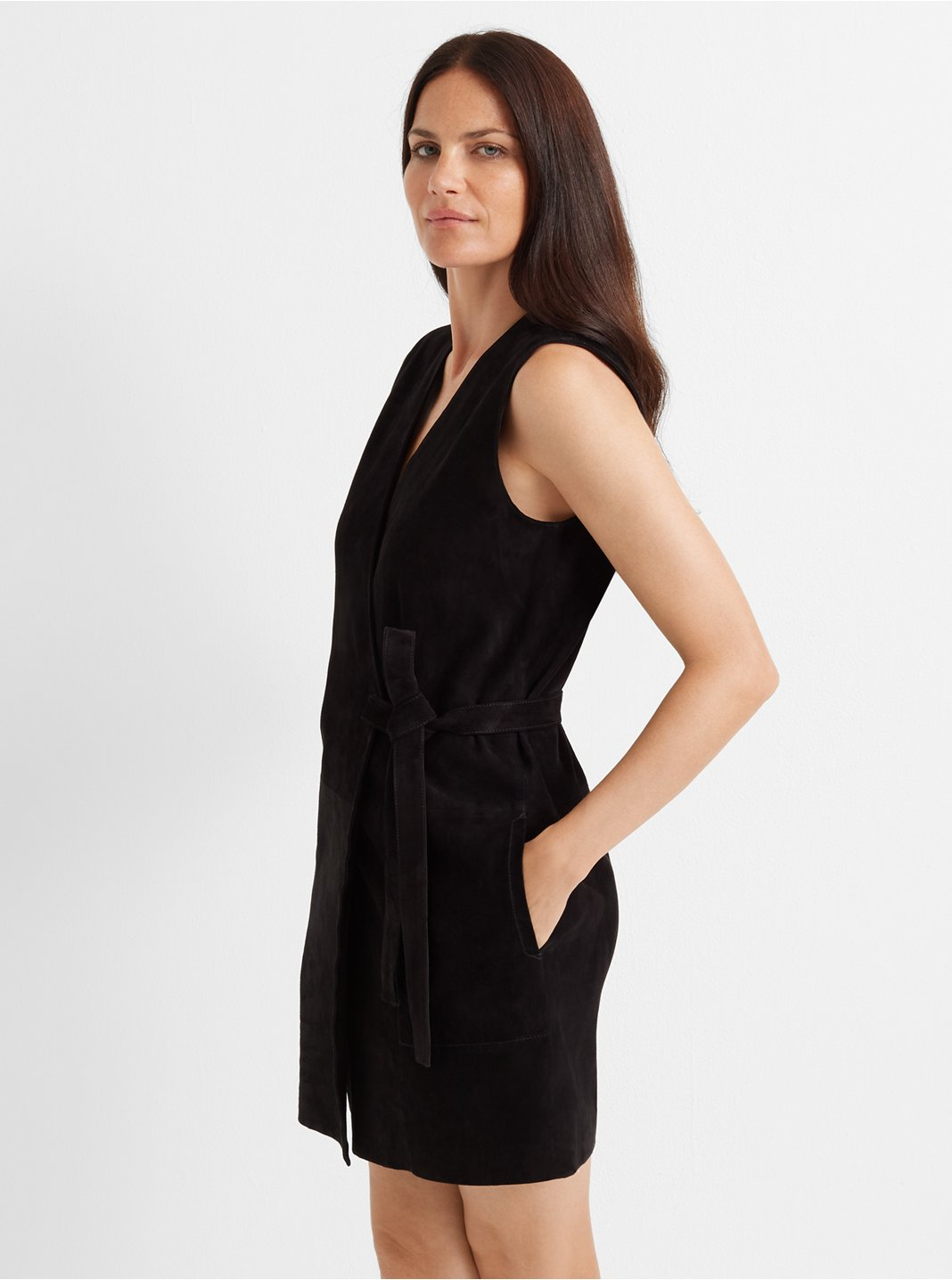 Suede Wrap Dress