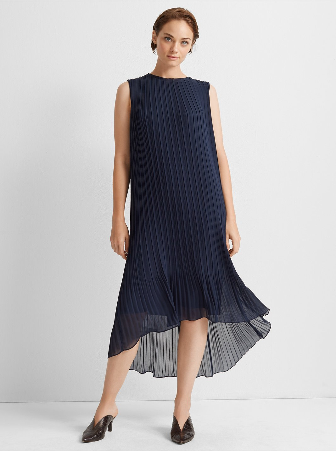 Pleated High Low Dress