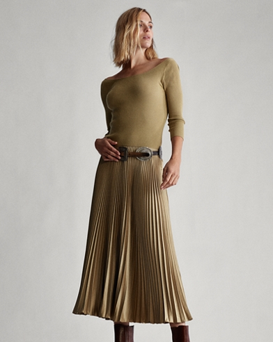 Ribbed Boatneck Midi Dress