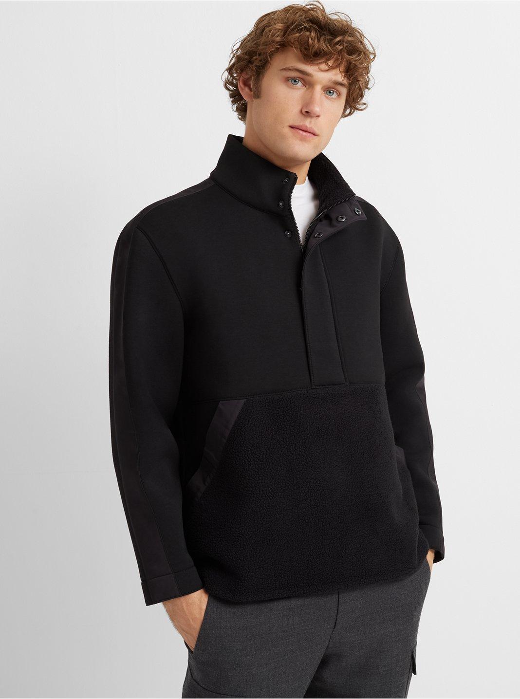 Quarter-Zip Mixed-Media Jacket