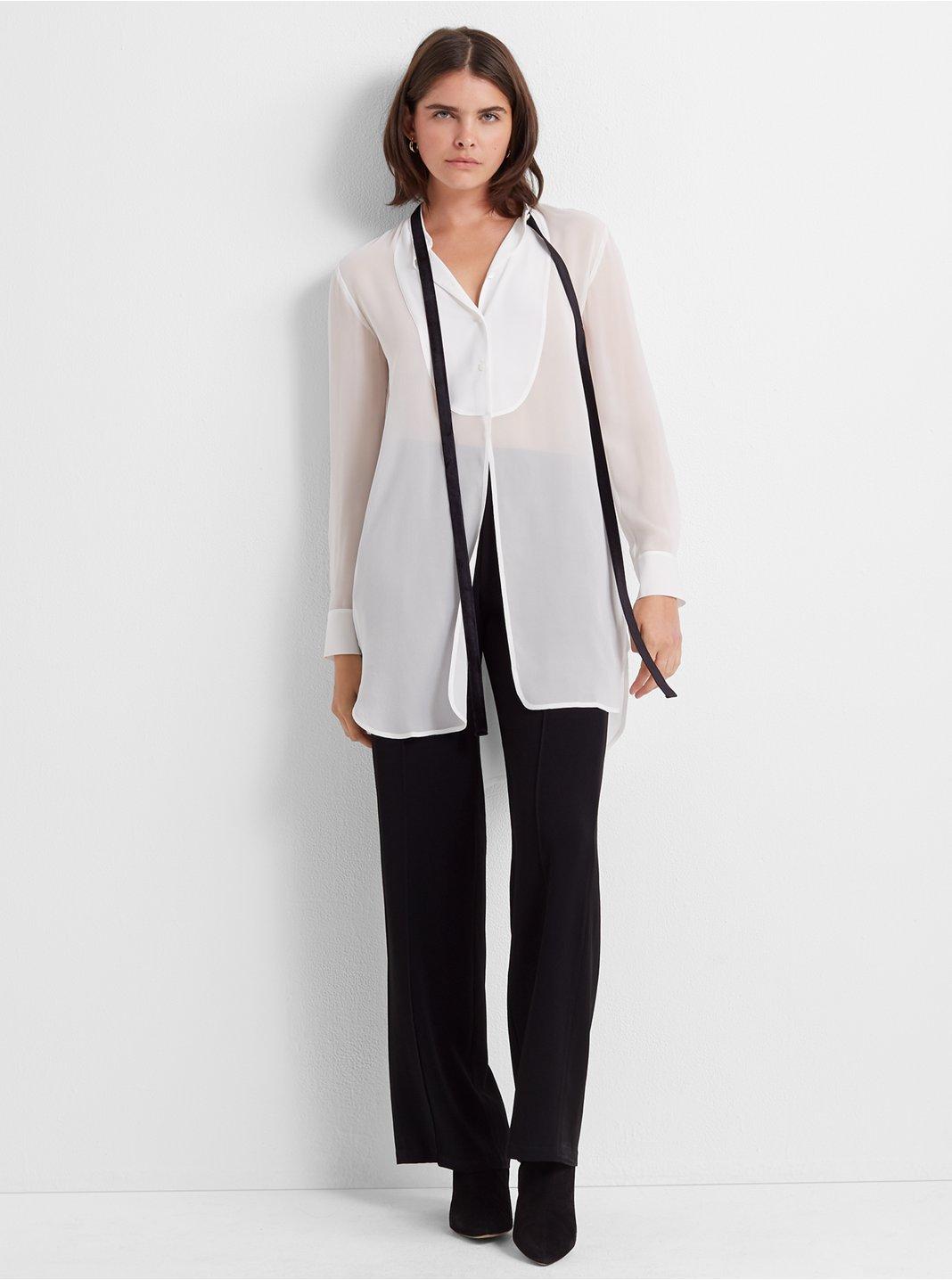 Silk Tuxedo Tunic Blouse