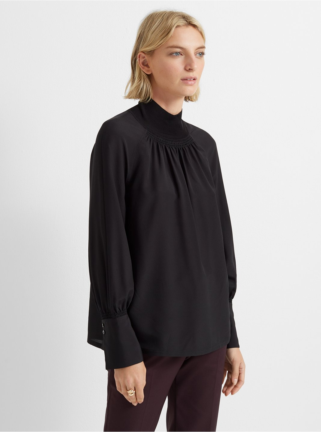 Rib-Neck Blouse