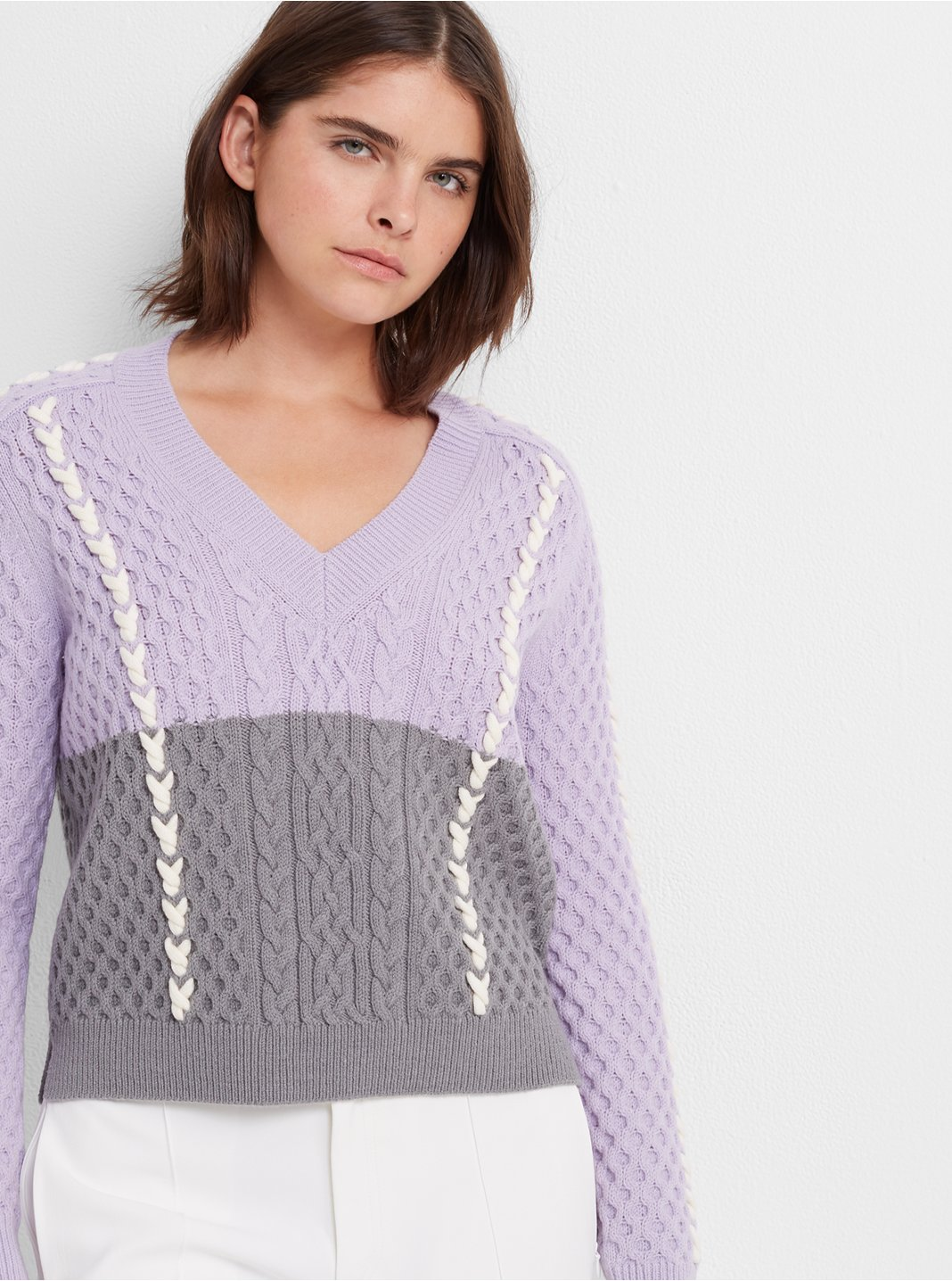 V-neck Colorblock Sweater