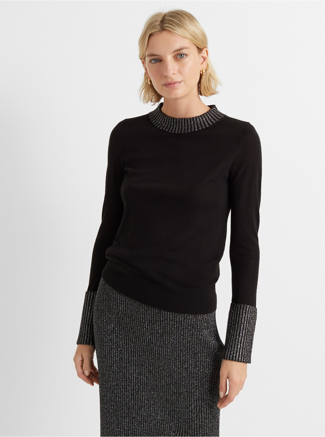 Lurex Trim Sweater