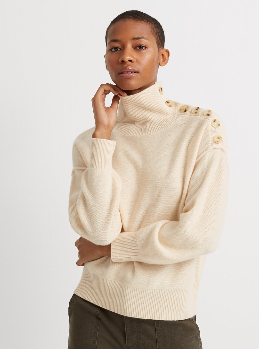 Button-Neck Cashmere Sweater