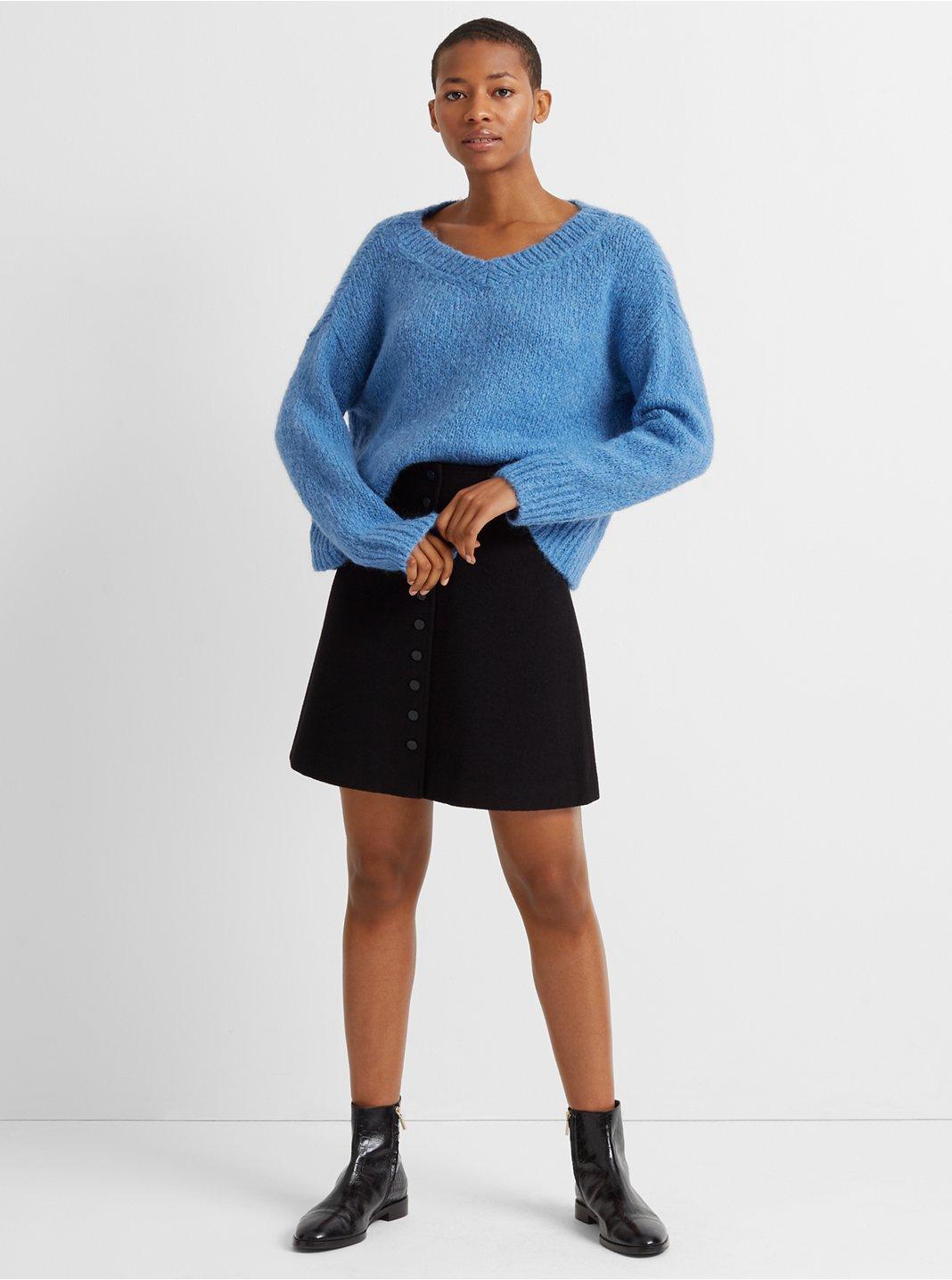 High-Waisted Button Mini Skirt