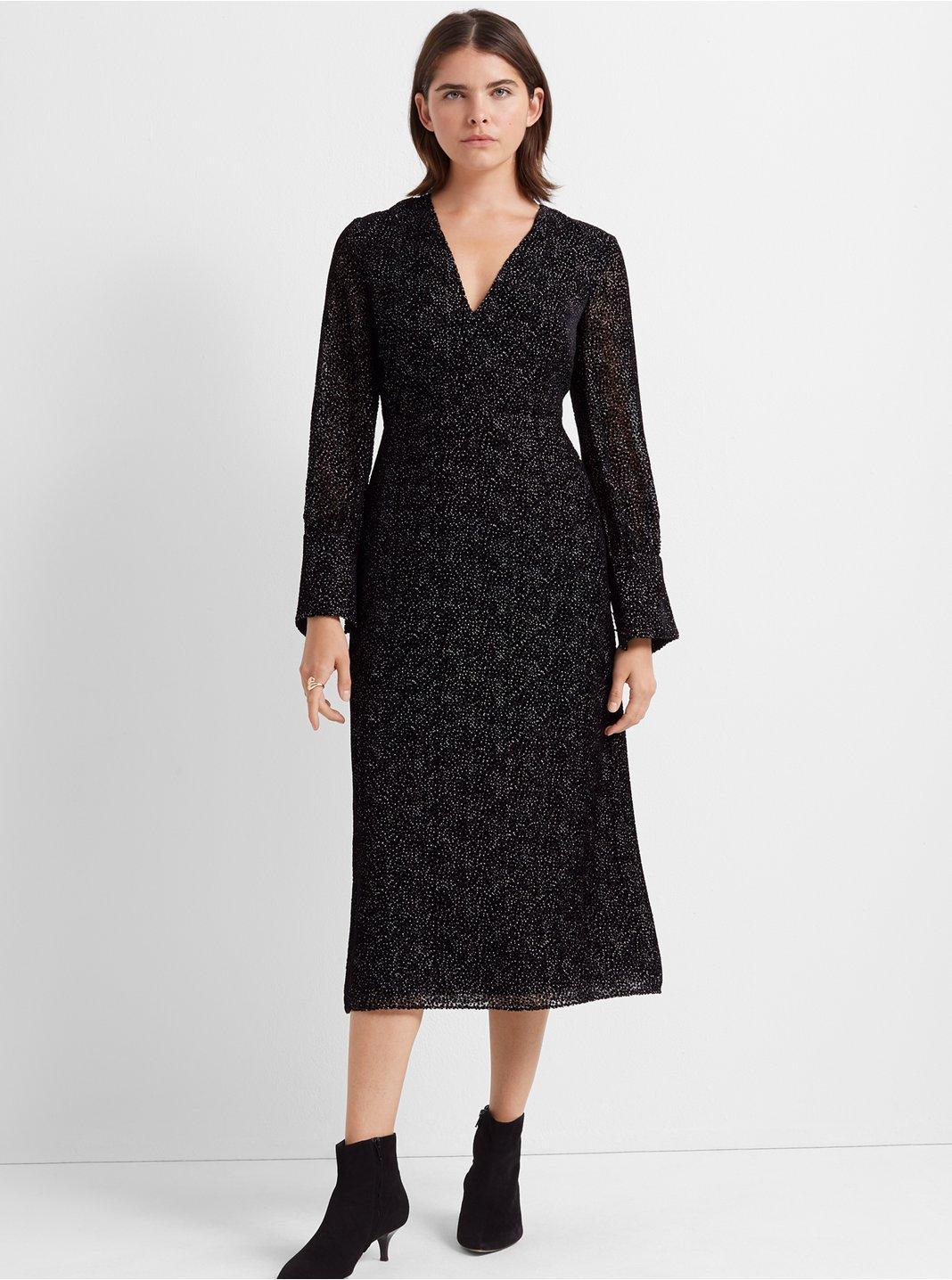 Deep V Burnout Dress