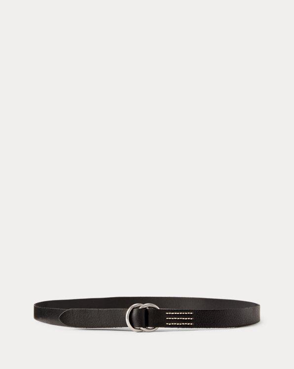 Cinturón de piel estrecho con hebilla de anilla