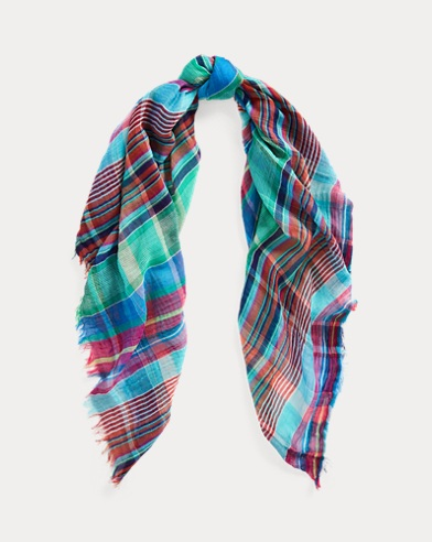 Plaid Crinkled Cotton Scarf