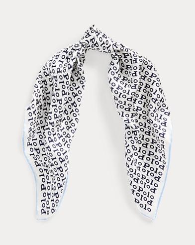 Logo-Print Silk Scarf