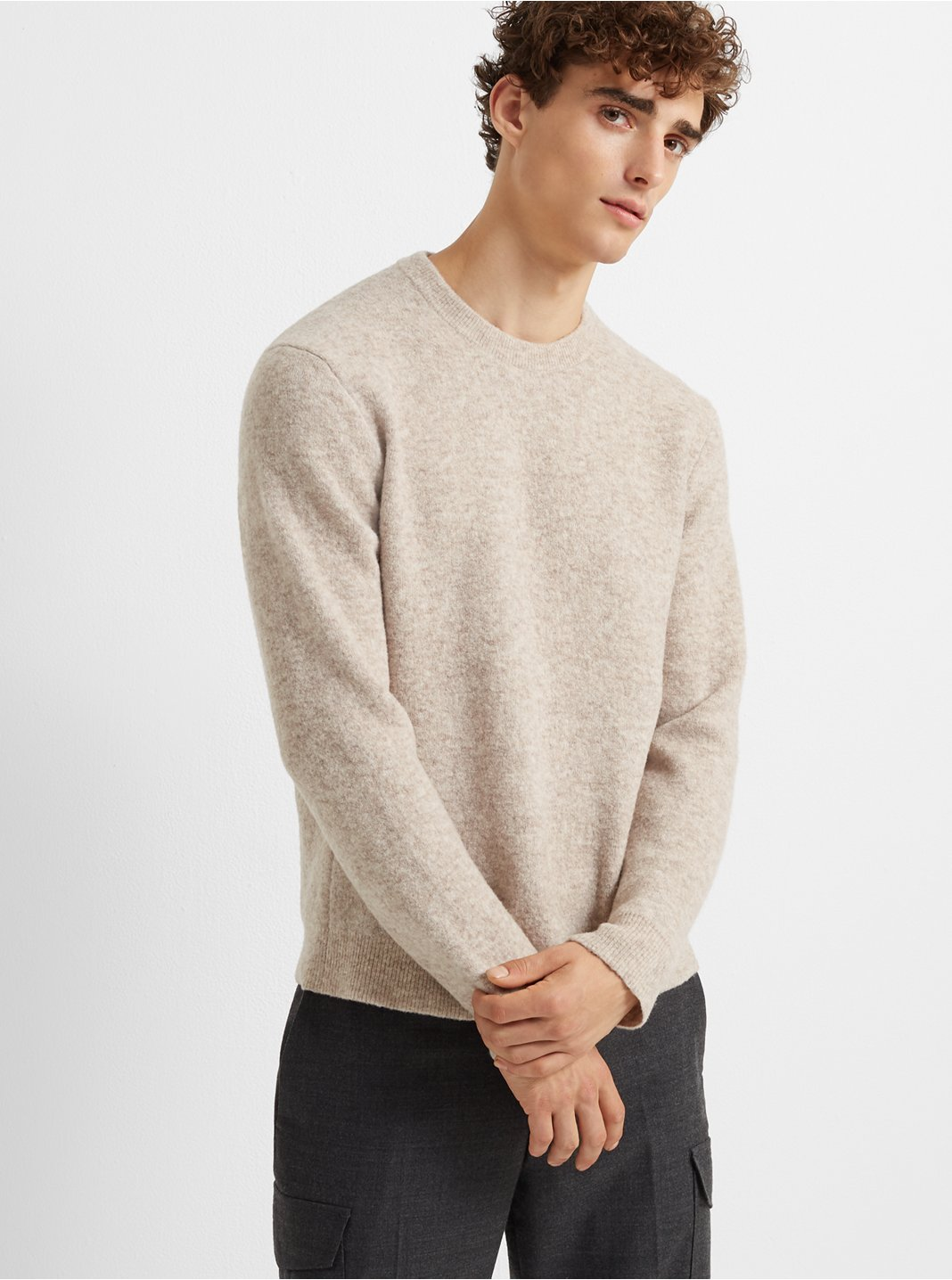 Brushed Wool-Blend Crew
