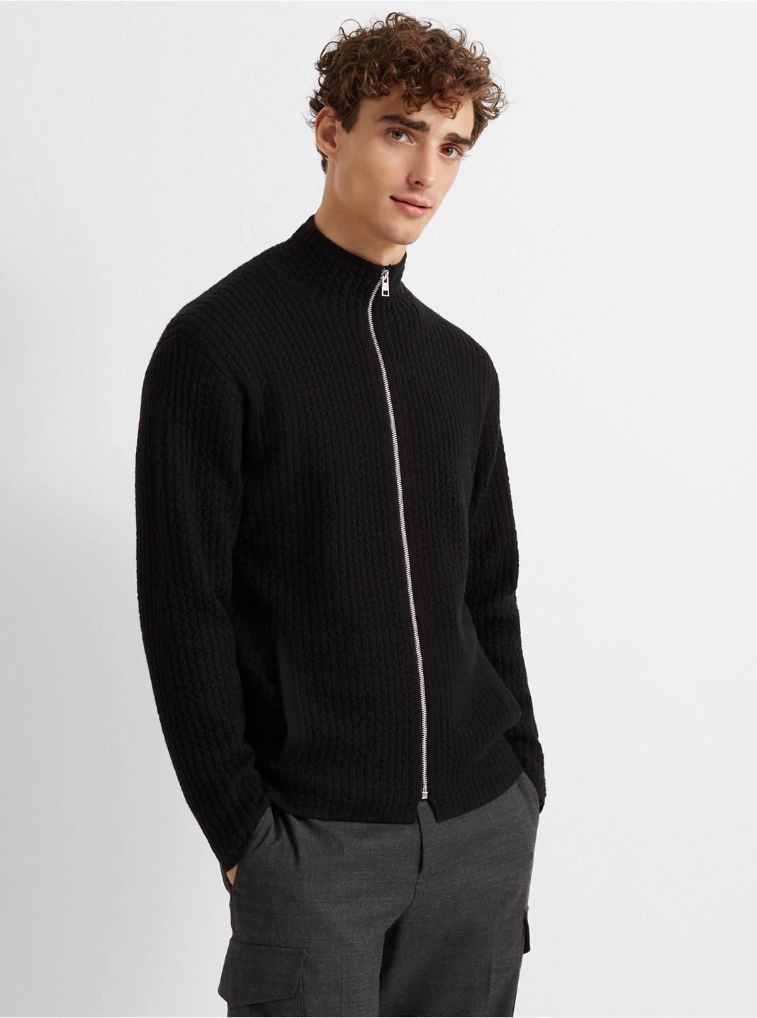 Rib Jacquard Sweater Jacket