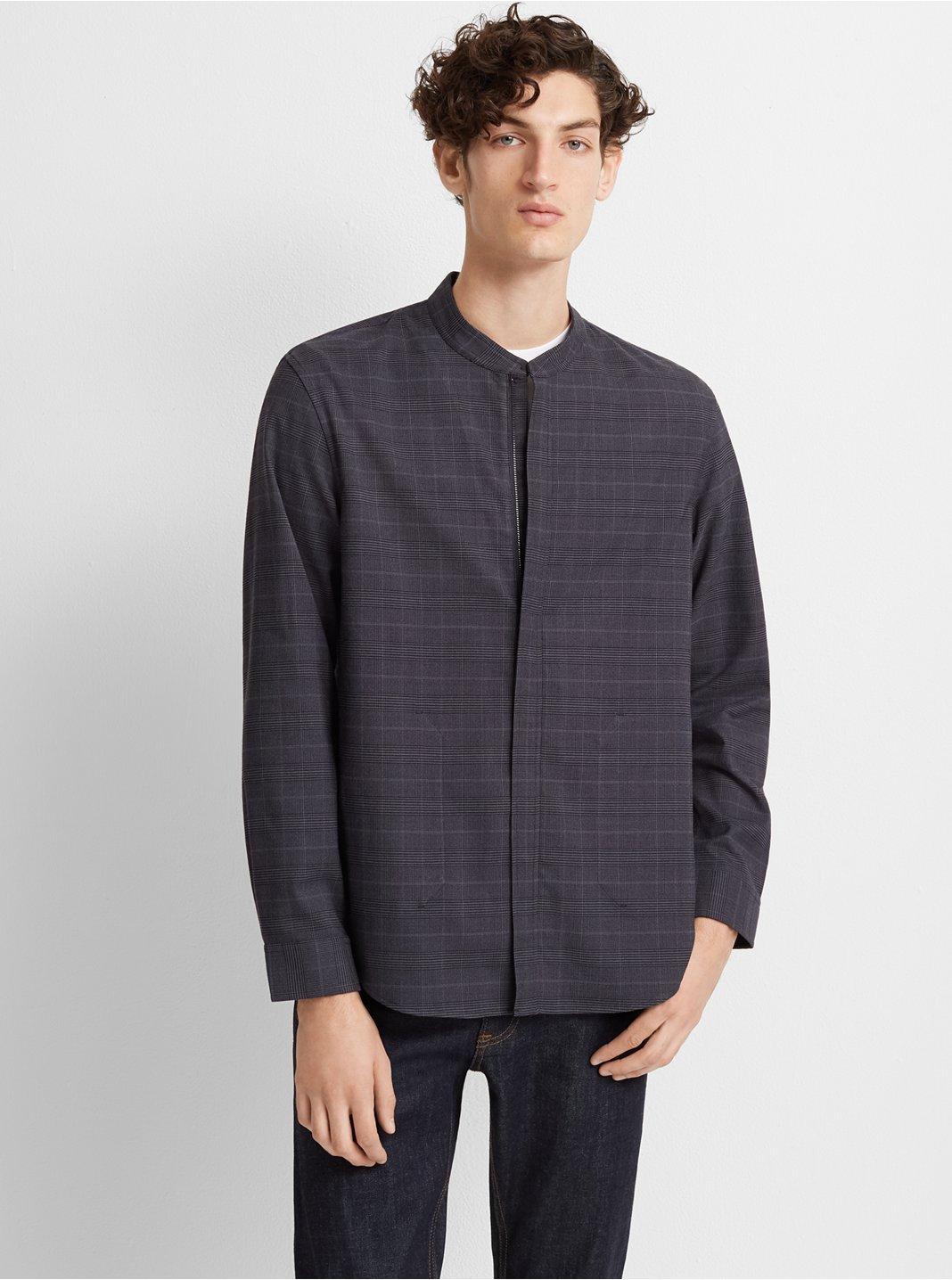 Glen Plaid Zip-Front Shirt