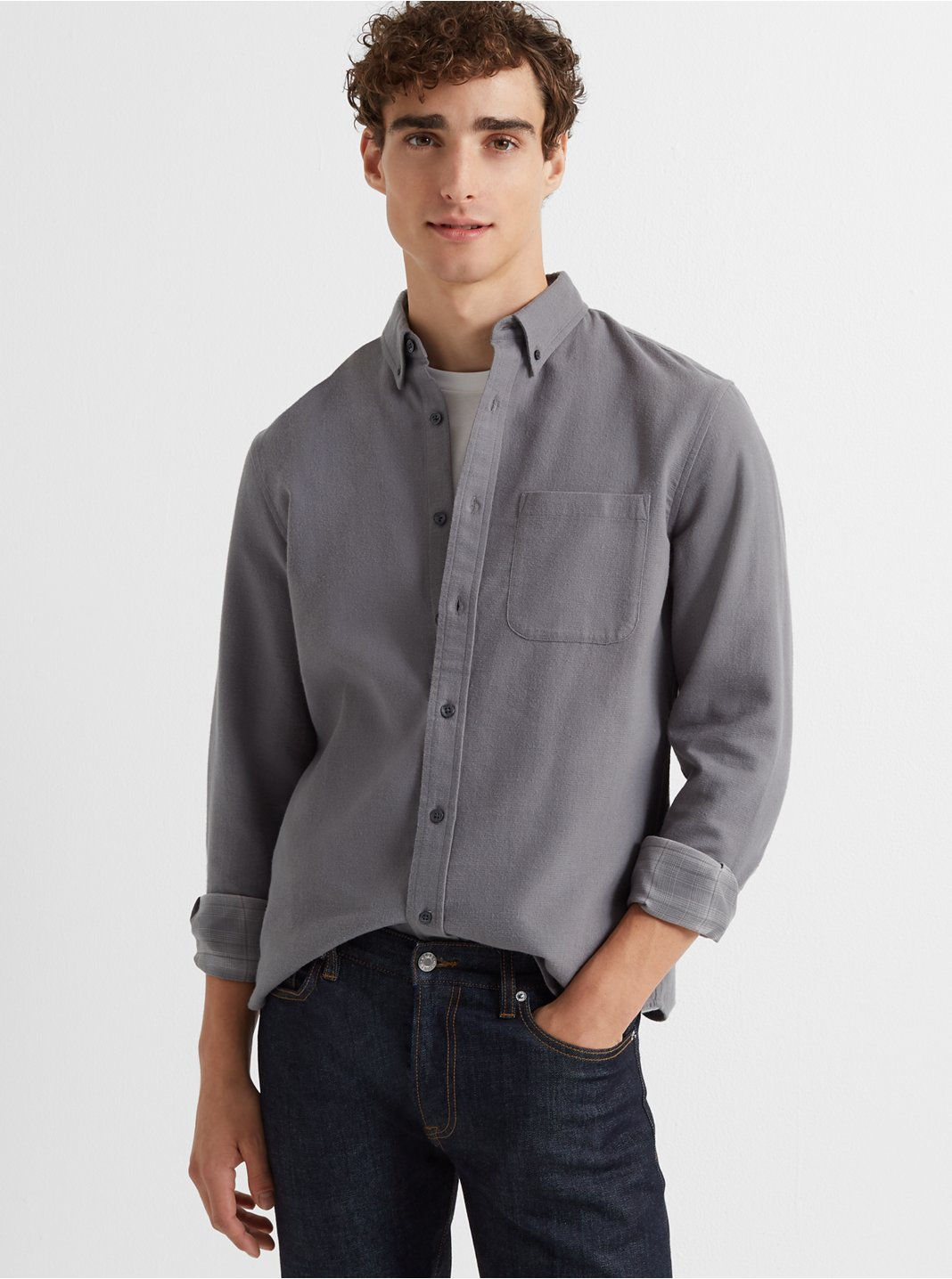 Slim Double-Faced Grid Shirt