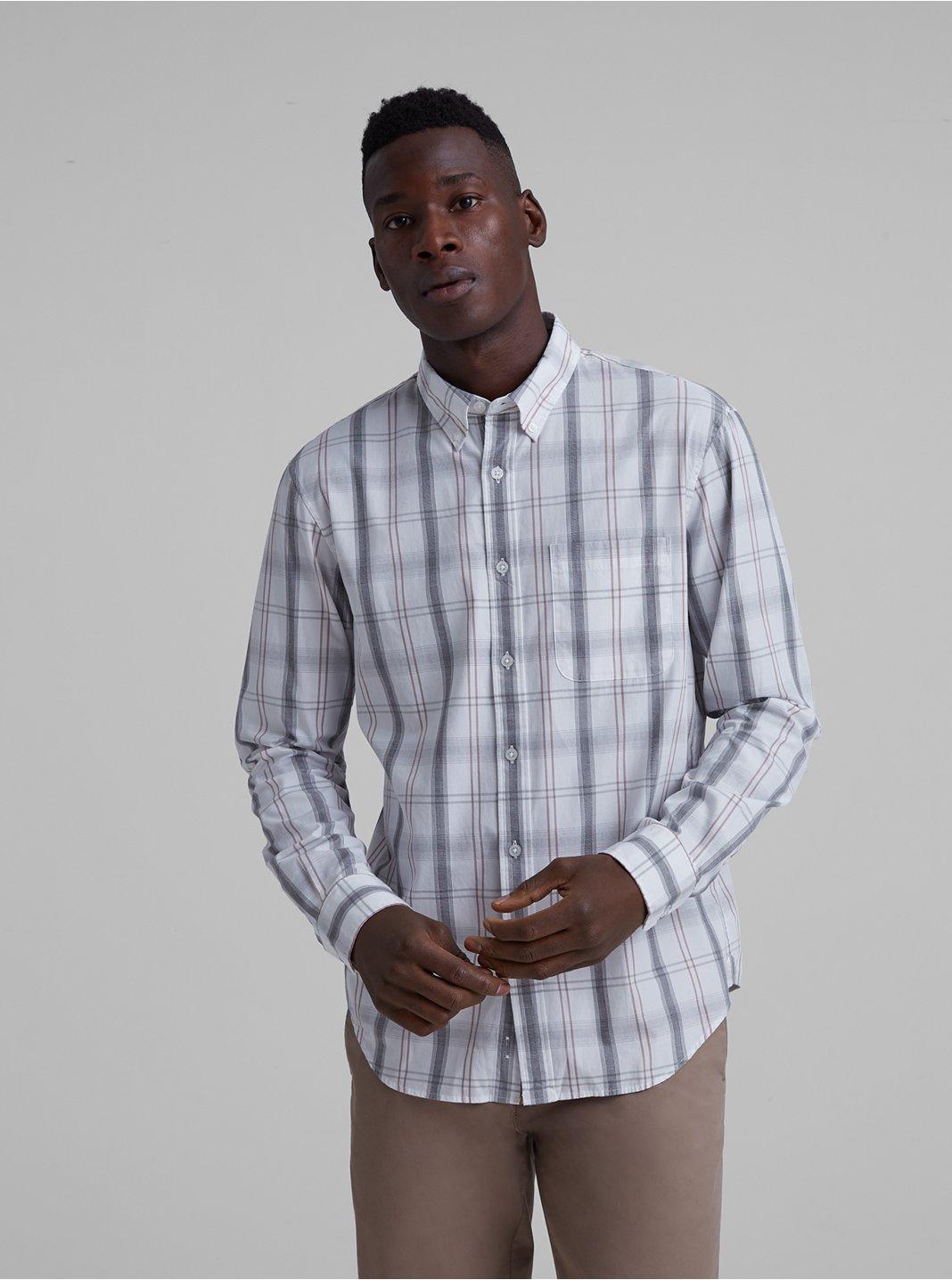 Slim Large Open Plaid Shirt