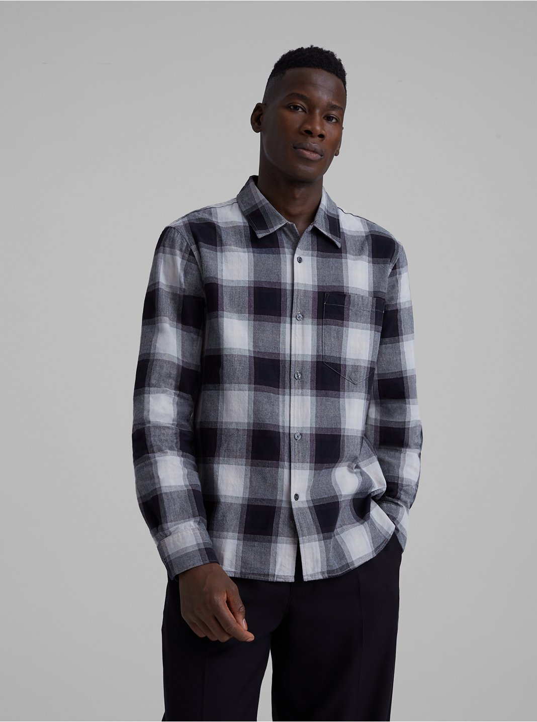 Ombre Plaid Loop Collar Shirt