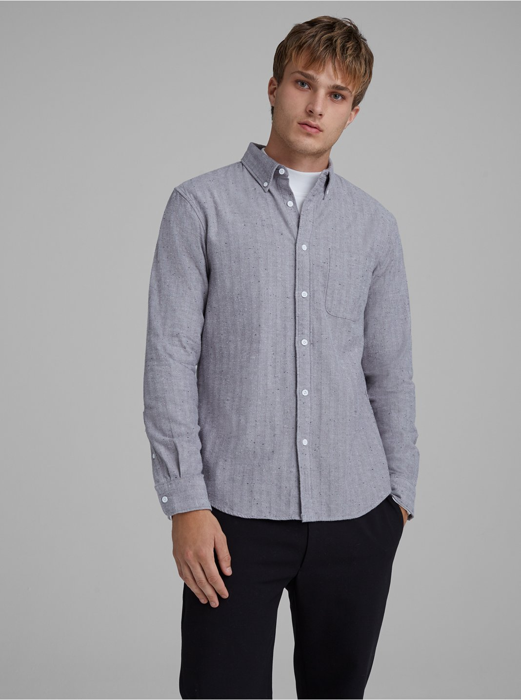 Slim Donegal Herringbone Shirt