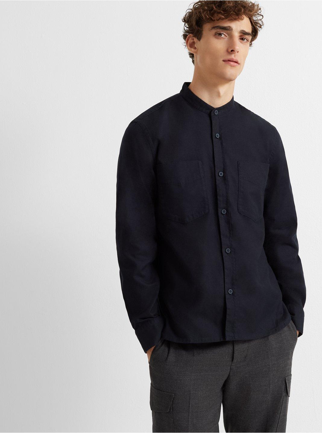 Brushed Band-Collar Overshirt