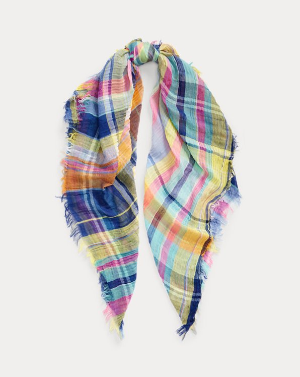 Crinkled Cotton Madras Scarf