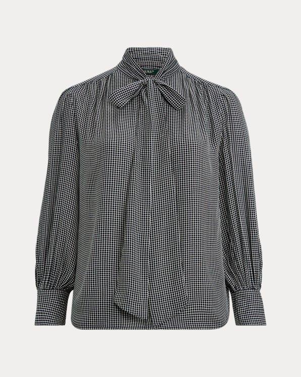 Check-Print Tie-Neck Top