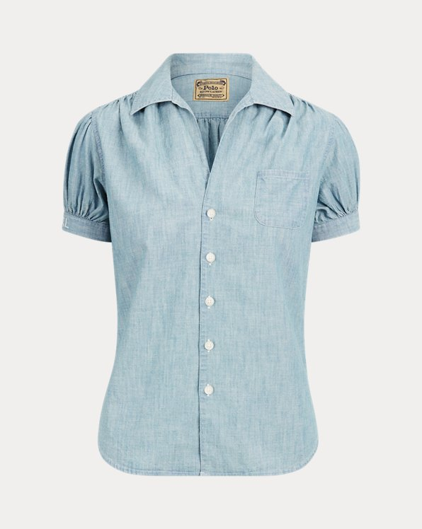 Chemise manches courtes en chambray