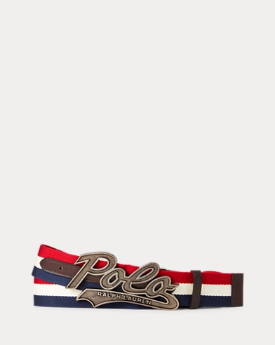Logo-Buckle Striped Belt