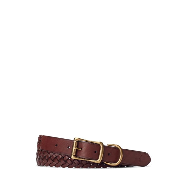 폴로 랄프로렌 Polo Ralph Lauren Braided Leather Belt,Brown