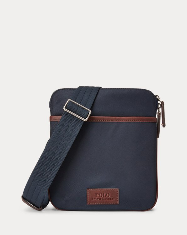 Leather-Trimmed Crossbody Bag