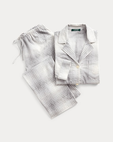 Plaid Cotton Twill Pyjama Set