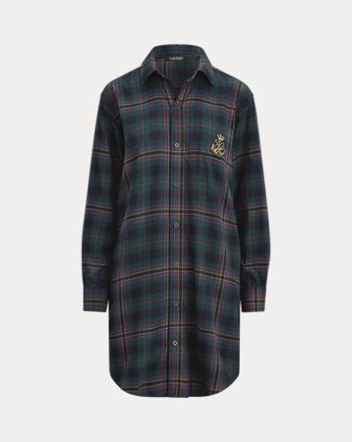 Camicia da notte scozzese in twill di cotone