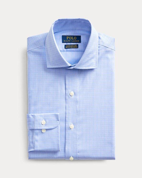폴로 랄프로렌 Polo Ralph Lauren Slim Fit Easy Care Shirt,Agean Blue And White
