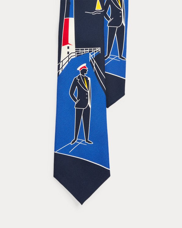 Lighthouse-Print Silk Tie