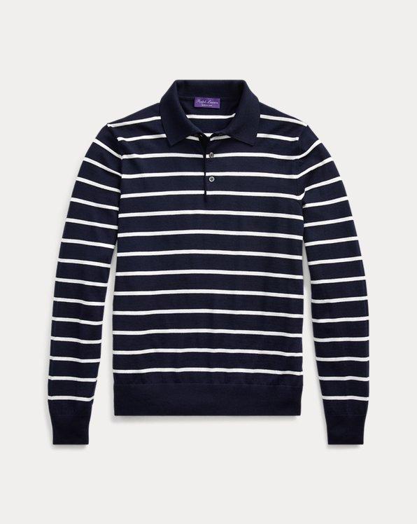 Striped Wool Polo Sweater