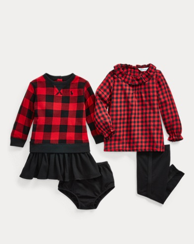 Checked Dress 3-Piece Gift Set