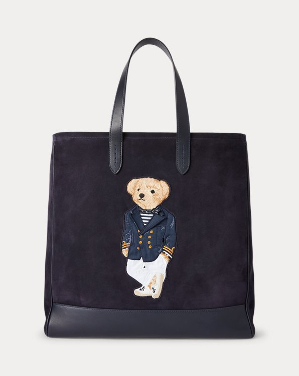 Tote Polo Bear in camoscio