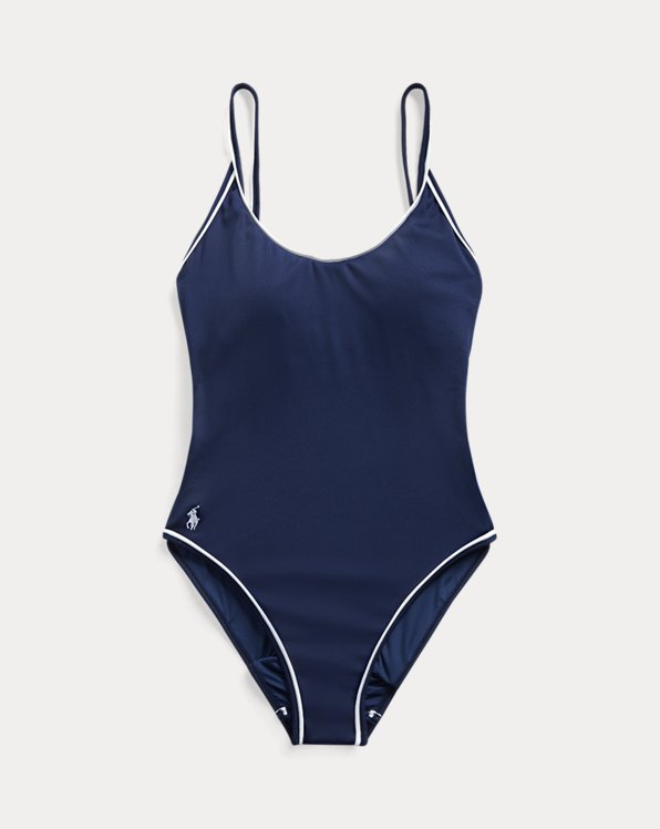 Piped-Trim Ribbed One-Piece