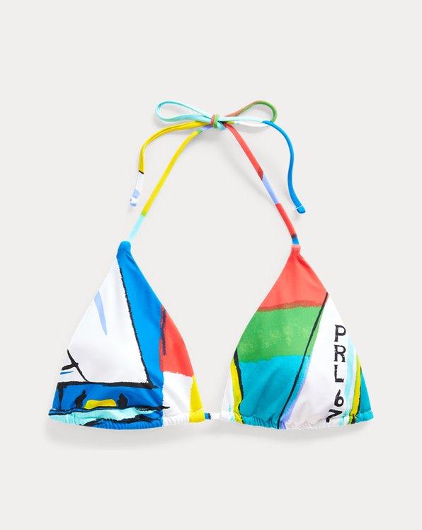 Graphic-Print Bikini Top