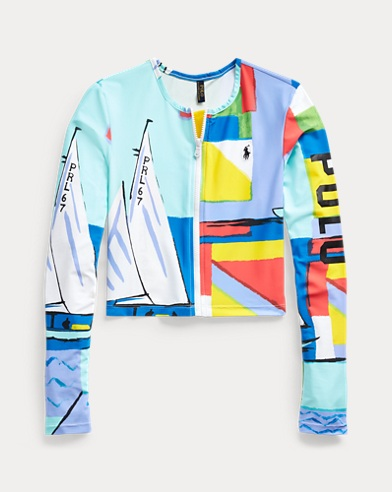Graphic-Print Rash Guard