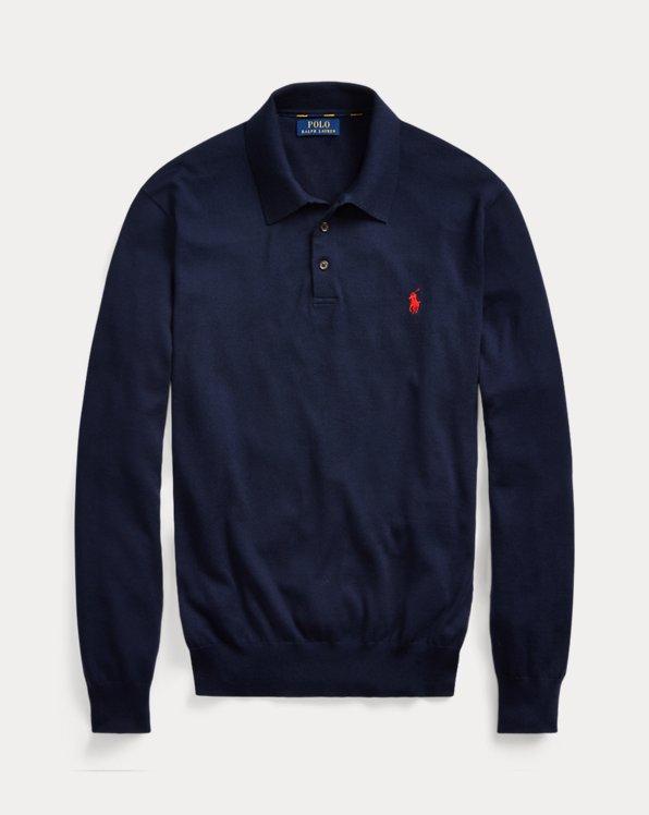 Cotton Polo-Collar Sweater