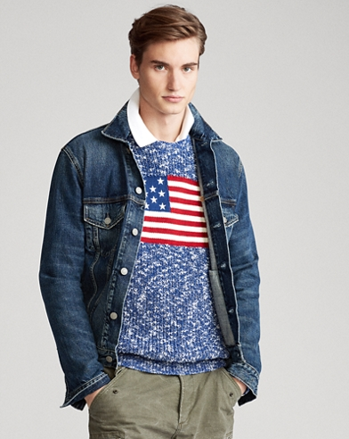 Jersey de algodón marmolado con bandera