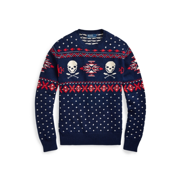 폴로 랄프로렌 Polo Ralph Lauren Nordic Scull-and-Bones Sweater,Royal/Cream