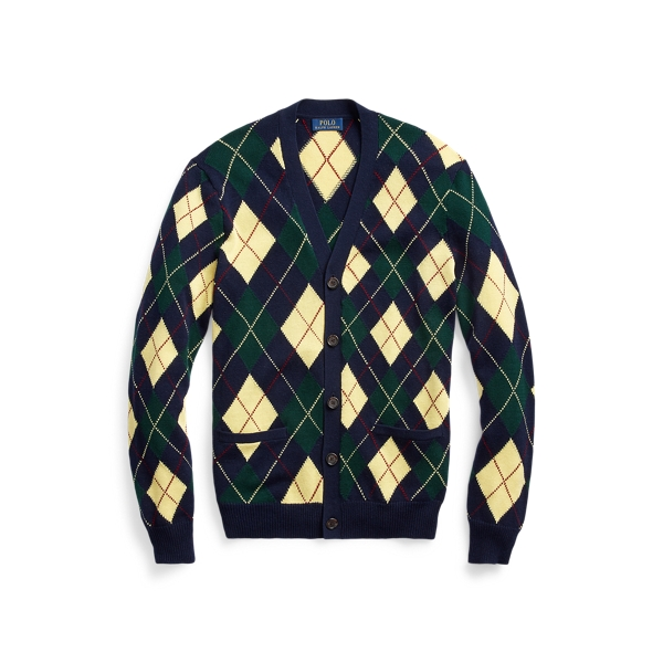 폴로 랄프로렌 Polo Ralph Lauren Argyle Cotton-Blend Cardigan,Navy Argyle